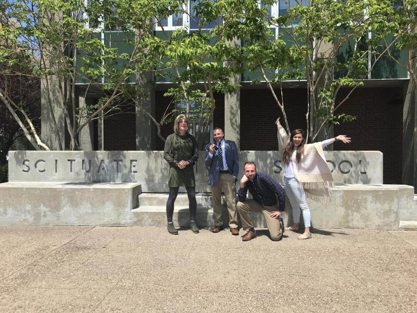 From Left to right: Casey Kimball, Brian Duffey, Michael Matisoff, and Kelsey Olander in front of SHS. Photo courtesy of Christina Pelletier.