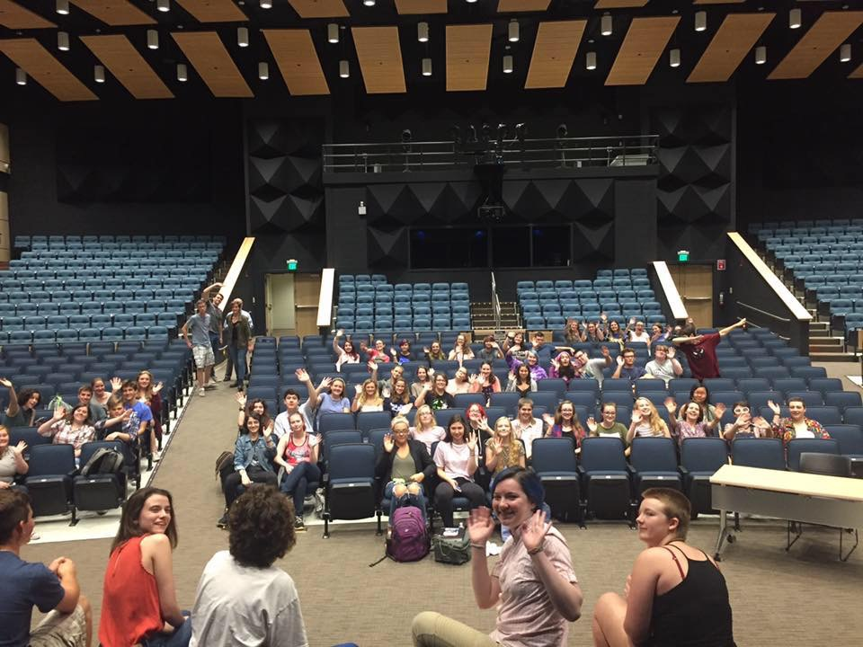 Drama students enjoy the new Performing Arts Center on the SHS campus