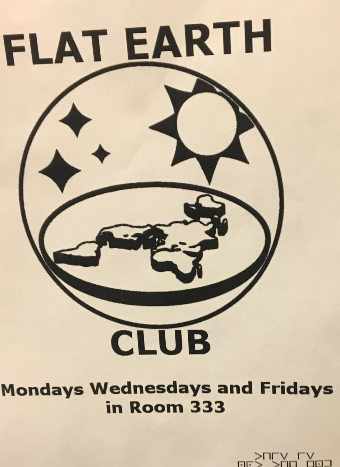 Photo of a Flat Earth Club sign that could be seen around Scituate High School. Photo courtesy of Max Bates