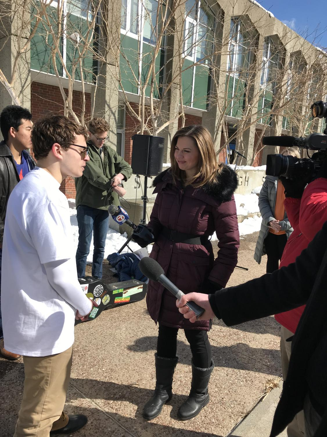Ryan Frankel was interviewed by Kim Lucey from Channel 7 after SHS walkout on March 15