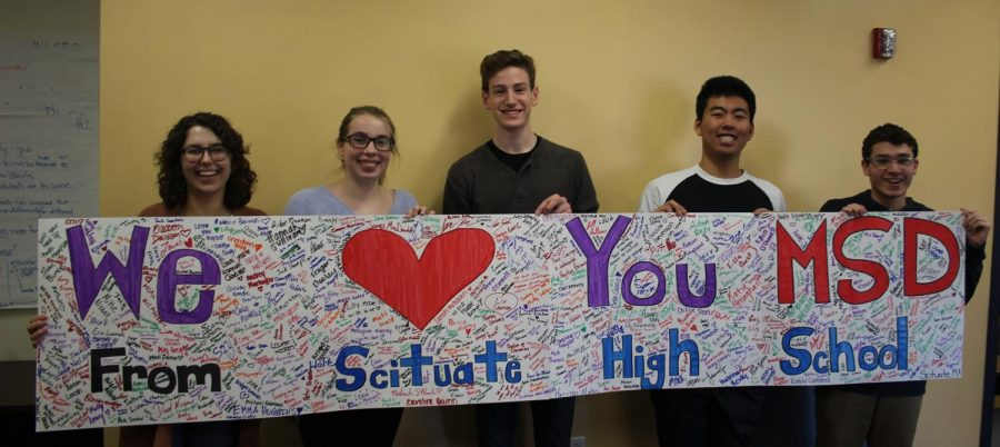 SHS+Students+%28from+left+to+right%29+Abby+Hilditch%2C+Emily+Whitman%2C+Birch+Swart%2C+Youta+Adachi+and+Ryan+Frankel+hold+the+banner+they+made+for+SHS+students+to+sign+in+support+of+the+tragedy+in+Parkland%2C+FL.+Photo+Courtesy+of+Lauren+Montgomery