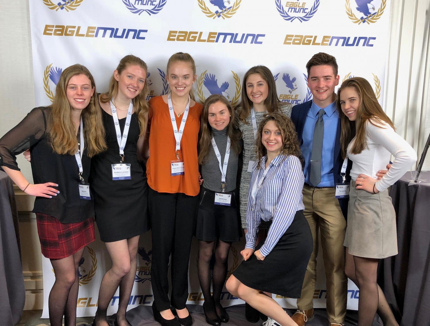 SHS juniors Maddyn McDonald, Grace Sullivan, Stephanie Murphy, Abby LaBreck, Annie Sullivan, Grace Oliveri, Micheal O'Keefe and Kat English at BC MUN. Photo Courtesy of Kat English.