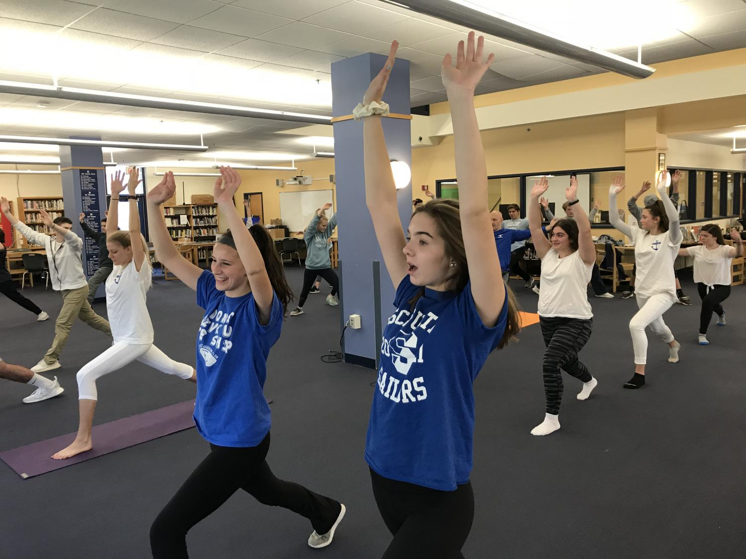 SHS students participate in a yoga session during November 21st SPLASH activity
