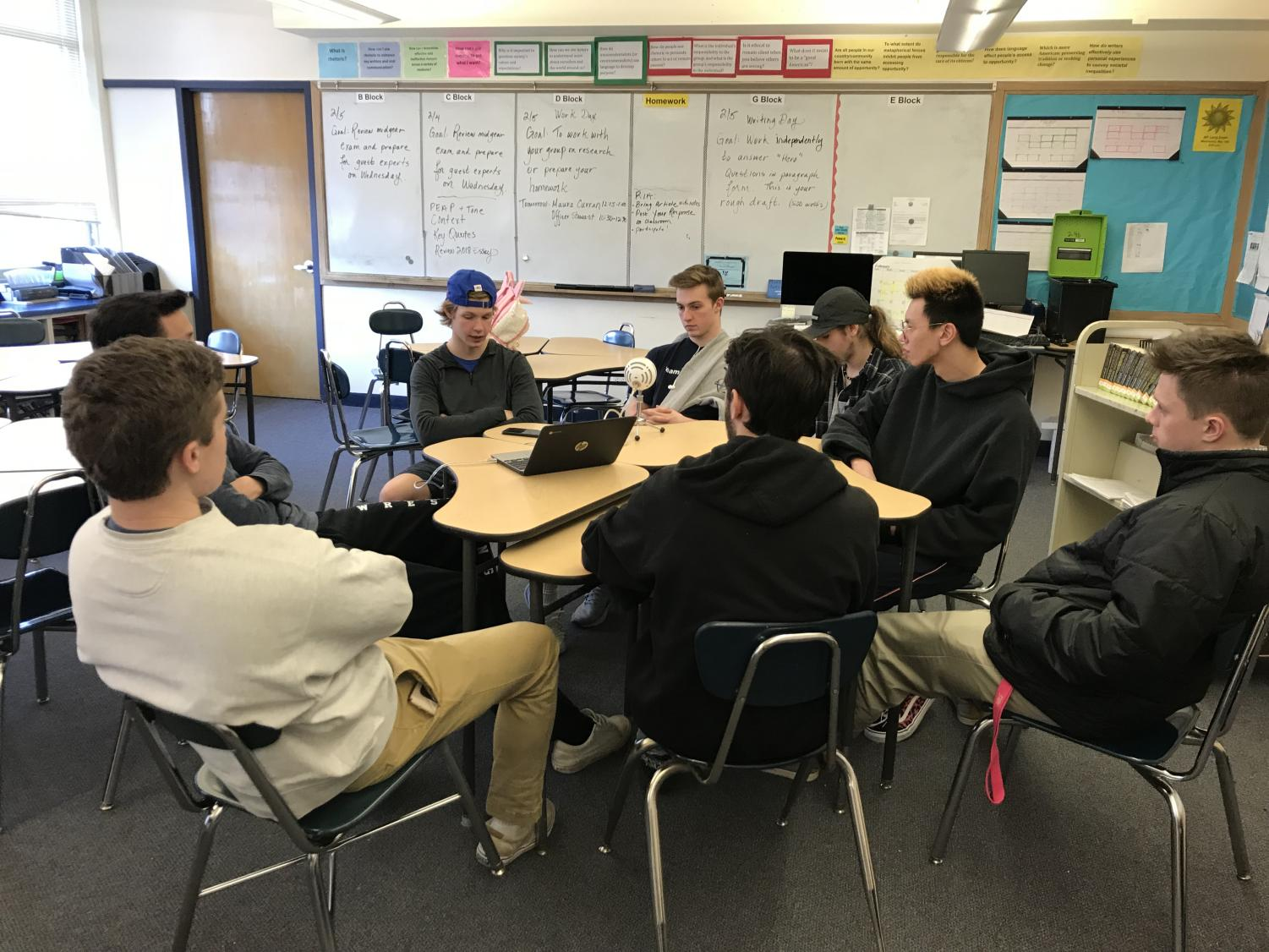 While over 50% of SHS attended the Patriots' parade, Matt Luscombe facilitated a podcast therapy session for his classmates