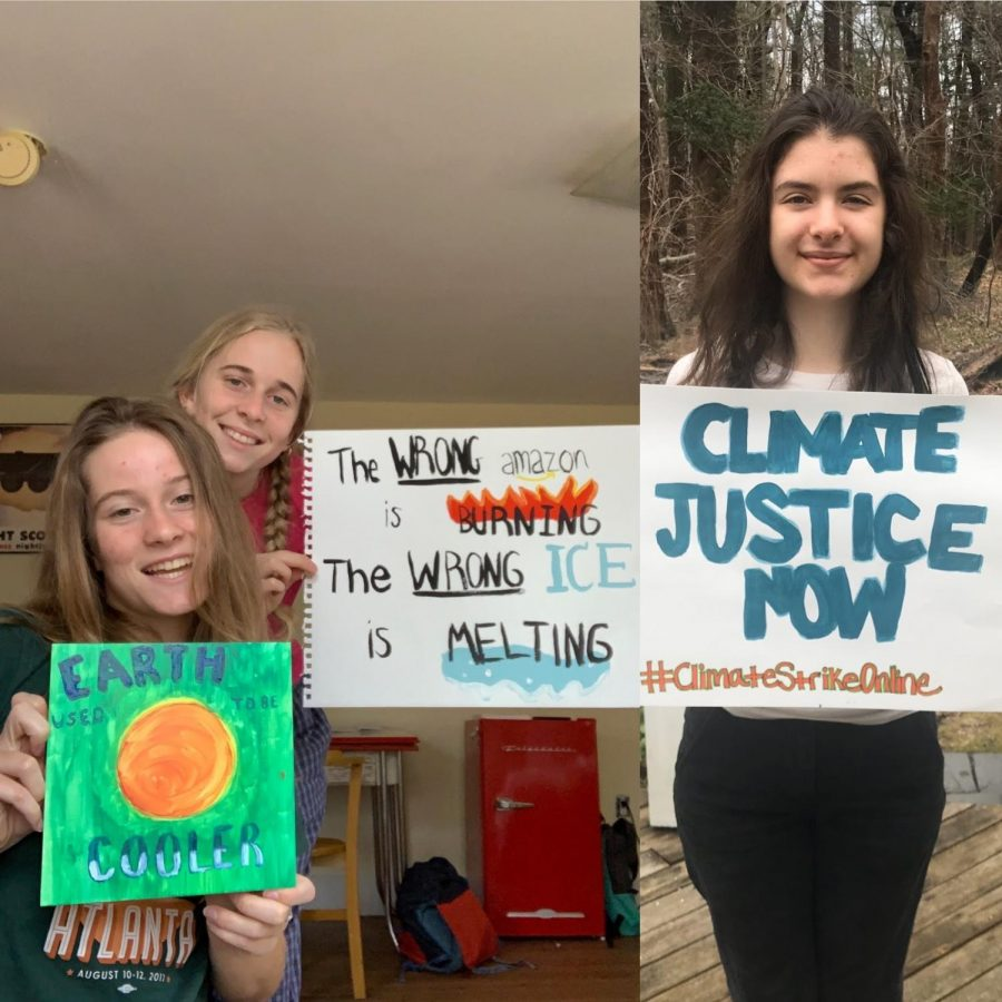 On+Friday%2C+March+20%2C+Cleo+Belber%2C+Nadia+Belber%2C+and+Maeve+Lawler+%28left+to+right%29+joined+the+%23ClimateStrikeOnline%0A