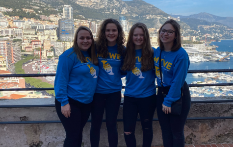 Annika Sjostedt (second from left), Hannah Gilmore (third from left) and Rosie Tyrcha (far right) enjoyed their trip to France with the Senior MA Youth Wind Ensemble