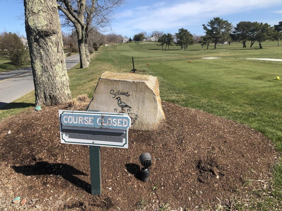 "Scituate Country Club displays ""Course Closed"" sign following state closures amongst the COVID-19 Pandemic"