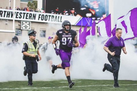 Joe Gaziano takes the field for Northwestern University